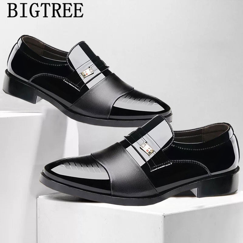 Patent Leather Pointed Toe Slip On Men Dress Shoes Business Shoes Mans Oxford Shoes For Men Sapato Social Masculino Scarpe Uomo