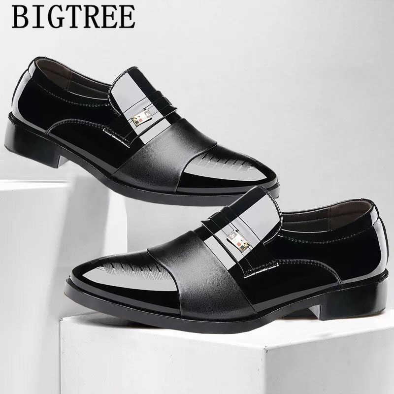 สิทธิบัตรหนัง Pointed Toe slip บนรองเท้าธุรกิจรองเท้า mans oxford รองเท้าสำหรับชาย sapato สังคม masculino scarpe uomo