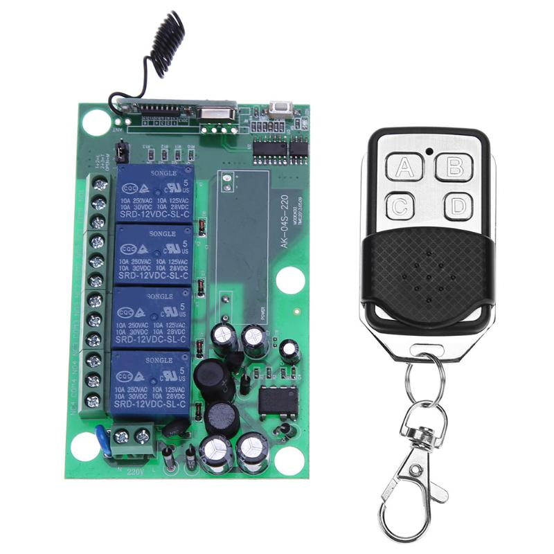 Plastic RF Remote Control AC 220V 4 Channel 433MHz Wireless RF Relay Remote Control Switch