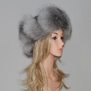 Image 5 - Женская шапка бомбер из натурального Лисьего меха, теплая шапка из натурального меха лисы хорошего качества, новинка зимы 2020