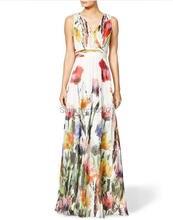 2016 Summer Flower Print Long Sexy Banquet font b Maxi b font font b Dresses b