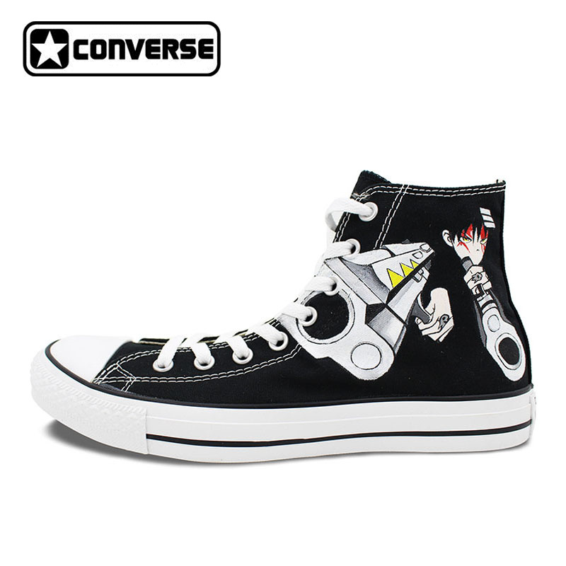 Anime Converse All Star Woman Man Shoes Soul Eater Design Hand Painted Shoes Women Men Sneakers High Top Skateboarding Shoes wen giraffe canvas shoes classic white hand painted animal sneakers sports high top skateboarding shoes for man woman