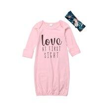 Pudcoco/ночные рубашки для новорожденных девочек и мальчиков; Хлопковое платье; комплект пижам; одежда для сна; Детское ночное платье