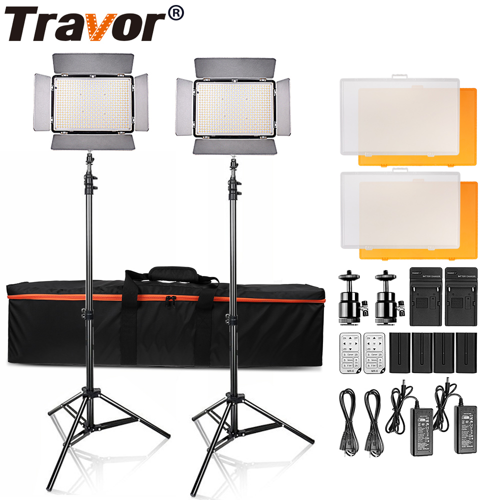 Travor 2 in1 TL-600S LED Video Light kit 3200K 5500K studio light /camera camcorder light with 4pcs NP-F550 battery and bag 1 4 lcd 6 led white light video lamp for camera camcorder 4 x aa