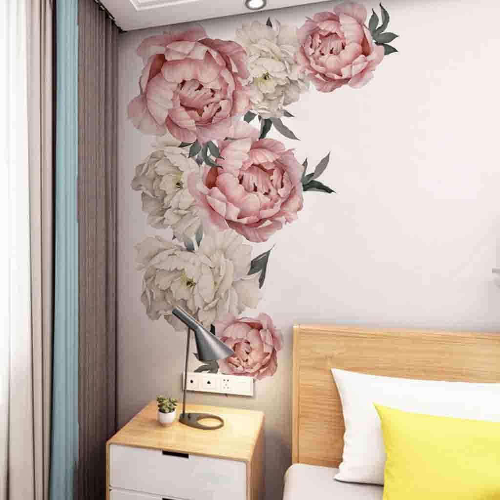אדמונית עלה פרחי בית תפאורה גדול נייר פרחי ילדים סלון חדר שינה קיר תפאורה מדבקה על טפט Diy בית מדבקות