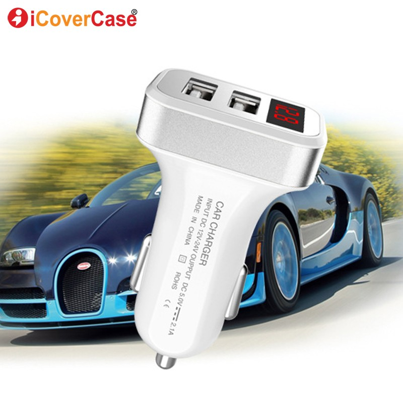 Dual USB Car Charger LED Display 5V 2.1A Fast Charging For Samsung Galaxy Note 8 5 4 3 2 note8 note5 Phone Charger USB Cable