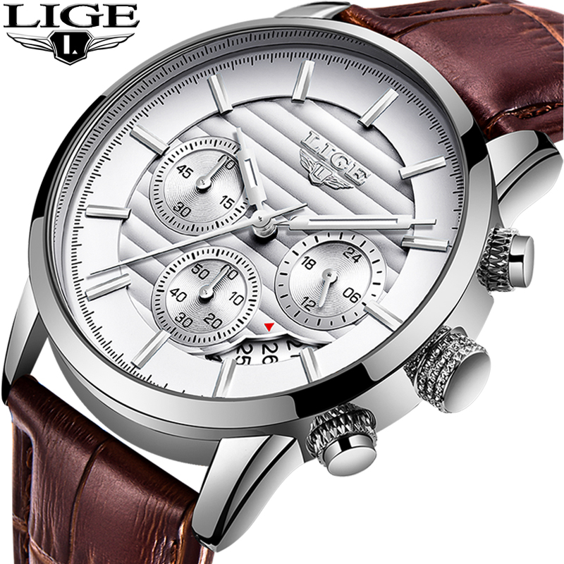 2019 NEW Luxury Brand LIGE Men Sport Watches Men's Quartz Clock Man Military Leather Wrist Watch Relogio Masculino+Gift Quartz Watches     - title=