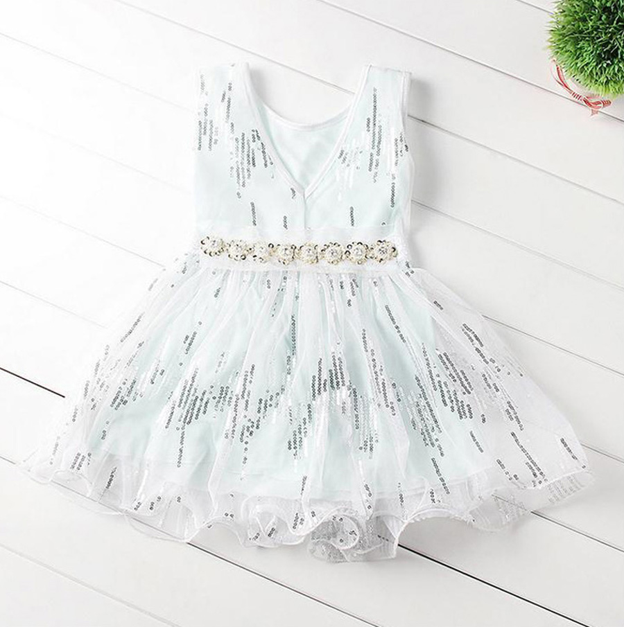 Retail 2017 Summer New Children's Princess Dress Girl Sequin Dresses Girls Party Dress With Belt Clothes Free Shipping DL-008 retail new girl flower dress child princess gauze dress summer summer costume 7 colors free shipping 5031