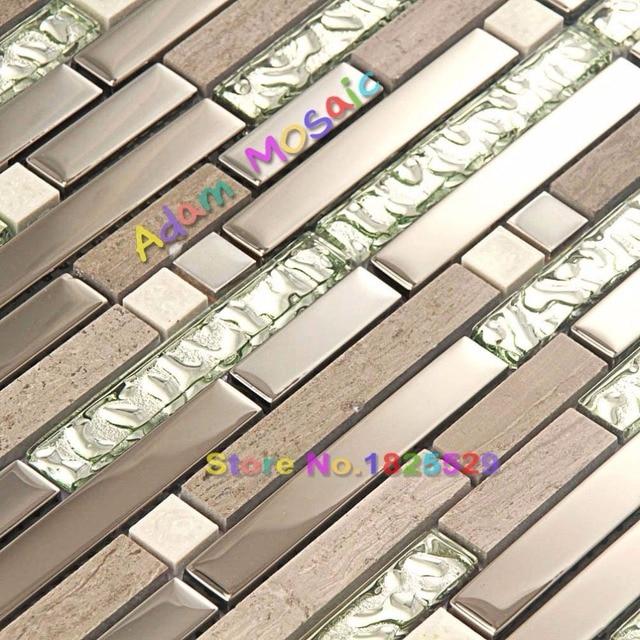 naturstein mosaik fliesen braun marmor backsplash kche silber glasscheiben spiegel u bahn kamin deco bltter - Kche Backsplash Ubahn Fliesenmuster