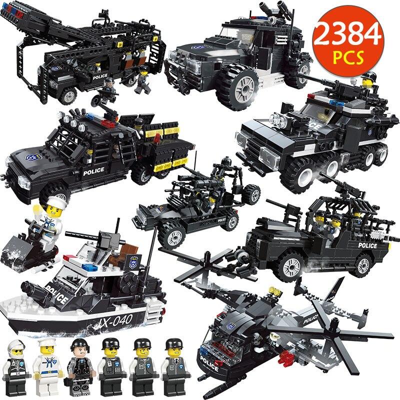 2384 pièces SWAT tigres volants blocs de construction Legoed WW2 ville militaire poste de Police véhicule hélicoptère bateau briques jouets pour enfants