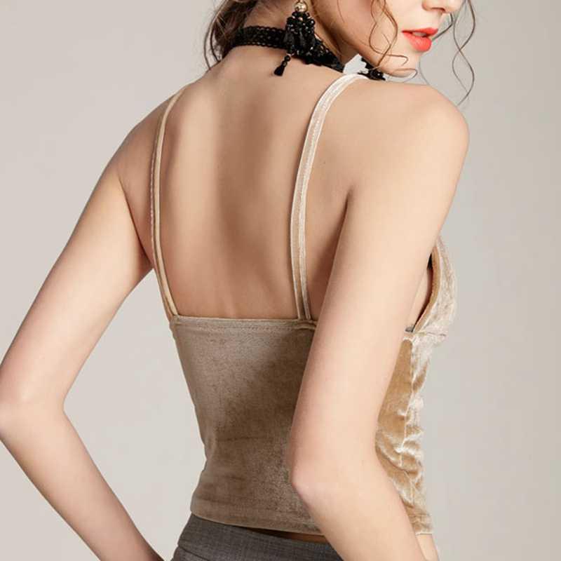 Vrouwen Sexy Top Fashion V-hals Spaghetti Band Slanke Top Nieuwe Vrouwelijke Hemdje Top Vadim Velours Tees 2018 H
