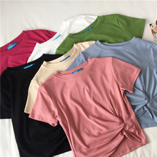 Irregular Cotton Cropped T-shirt Girls O-neck Solid Basic Crossed Crop Tops For Female Summer 2019