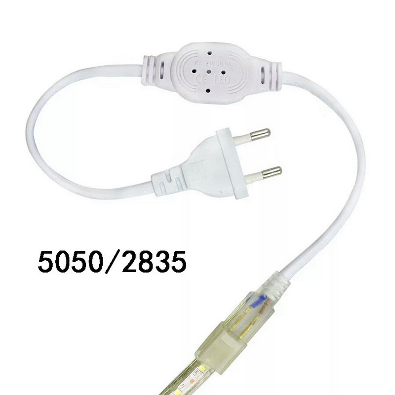 EU/US Plug Power Supply Adapter Cable for 5050 Single Color LED Strip Light 220V Household Lamp Fittings