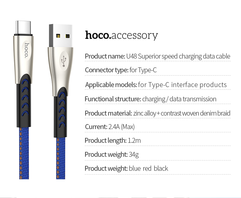 HOCO USB C Cable For Xiaomi Mi 8 A1 F1 Huawei P20 Durable Zinc Alloy USB Type C Fast Charging Cable For Samsung S8 S9 Oneplus