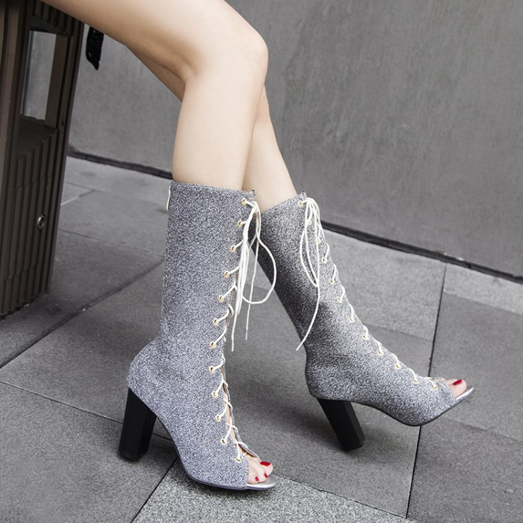 Big Size 11 12 13 14 15 16 17 ladies high heels women shoes woman pumps  High-barrel tied boots