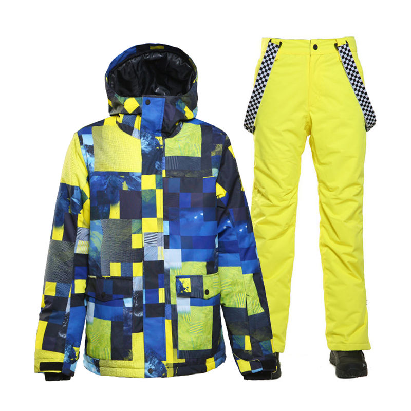 SMN Men's Snow Suit Wear Outdoor Sports Costume Snowboarding Sets Waterproof Windproof Breathable Ski Jacket And Strap Snow Pant