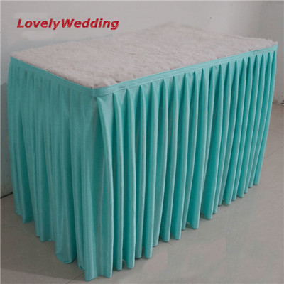 high quality 100 polyester ice silk table skirt for wedding