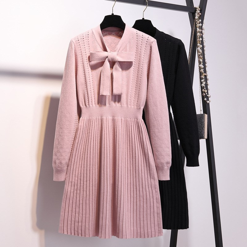 Fashion 2019 New Women Pink Bow Tie Collar Sweater Dresses Plus Size Mini Knitted Dress Pullover Pleated Dress Vestidos Xxxl