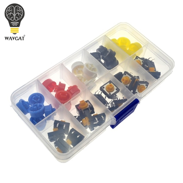WAVGAT 25PCS Tactile Push Button Switch Momentary 12*12*7.3MM Micro switch button + 25PCS Tact Cap(5 colors) for Arduino Switch