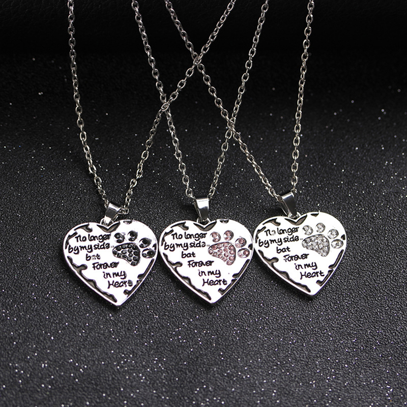 Heart Paws Necklace Chain Pendant Pink Black No Longer By My Side But Forever In My Heart Charm Women Men Love Friends Gifts image