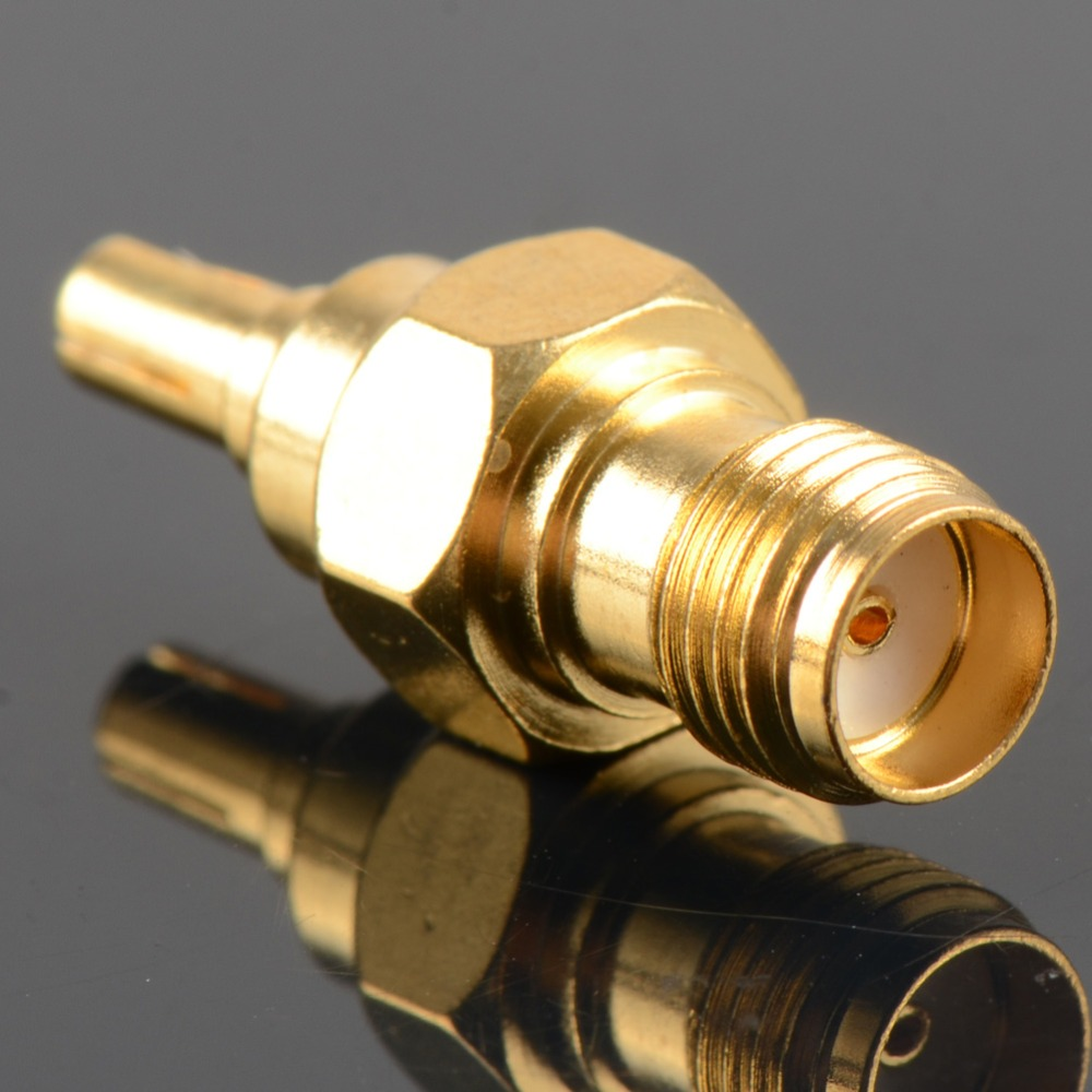 1pc Adapter CRC9 Male Plug To SMA Female Jack RF Connector Straight Gold Brass Plating VC663 P30 rp sma female to y type 2x ip 9 ms156 male splitter combiner cable pigtail rg316 one sma point 2 ms156 connector for lte yota