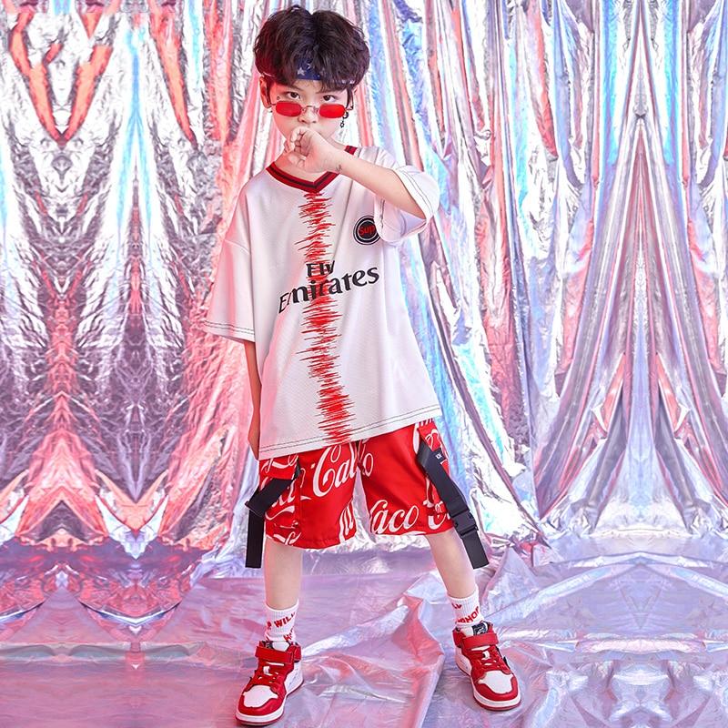Kids Street Dance Outfit Hip-Hop Dance Costume Boy Children'S Day Tops Shirt Shorts Jazz Dance Costume Performance Wear DQS1525