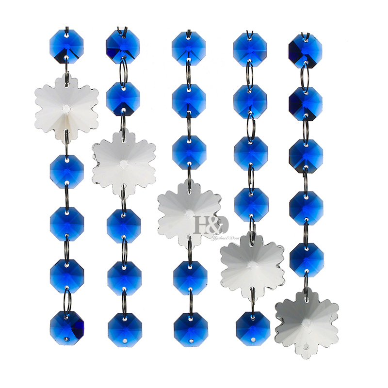 Blue K9 Crystal Chandelier Snowflake Shape Wedding Christmas Decorate Accessories 5 5 1 Inch Car Window