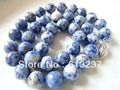 "hot free Shipping new 2014 Fashion Style diy Charming 10mm Lapis Lazuli Round  Beads Necklace 18"" MY5165"