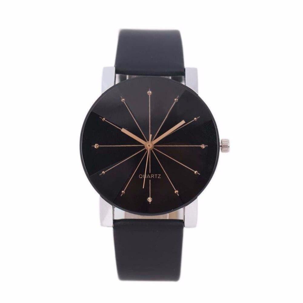 2018 Relogio Feminino MenWomen Analog Quartz Dial Hour Digital Watch Leather Wristwatch Reloj Mujer Round Case Time Clock Gift