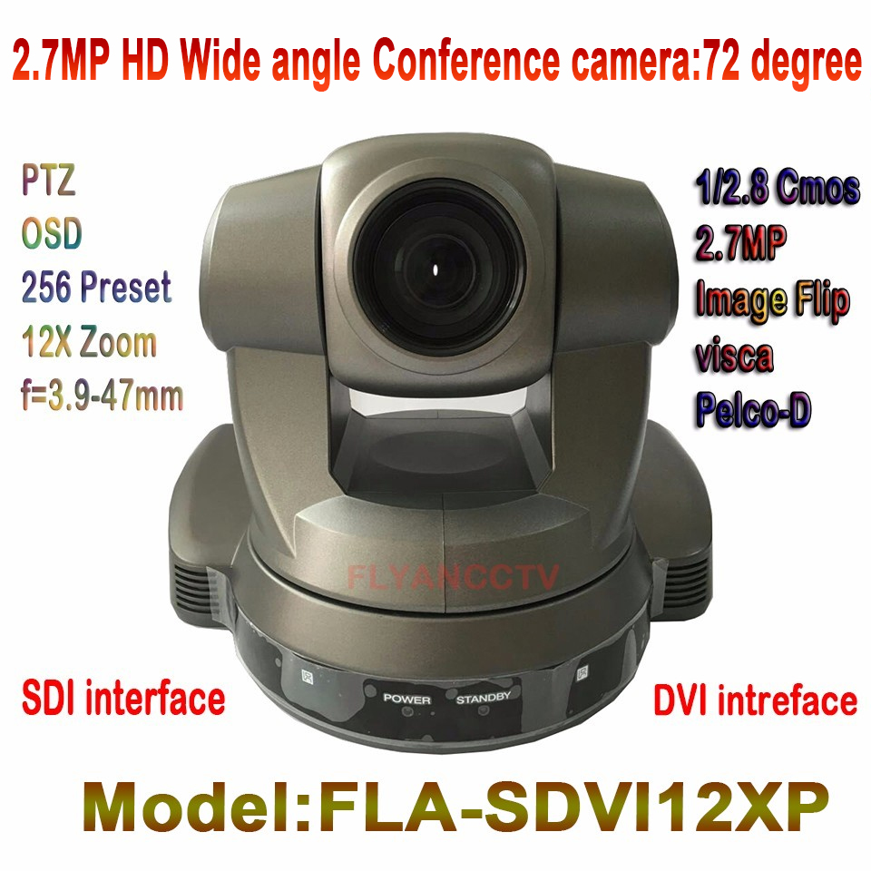 High Quality DVI SDI 2.7MP Video Meeting HD Conference Camera 1080P 12x Zoom Wide Angle 6~72 Degree For Conference Training Room dannovo sony 20x zoom 1080p ptz video conference room camera support hd sdi hdmi ypbpr av video output visca pelco rs232 rs485