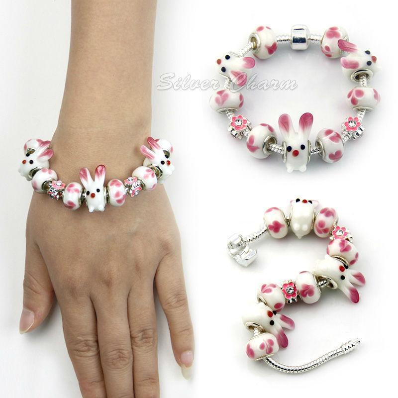 BAMOER Silver Color Rabbit Charm Bracelet for Women European Style Handmade Silver Jewelry PA1381