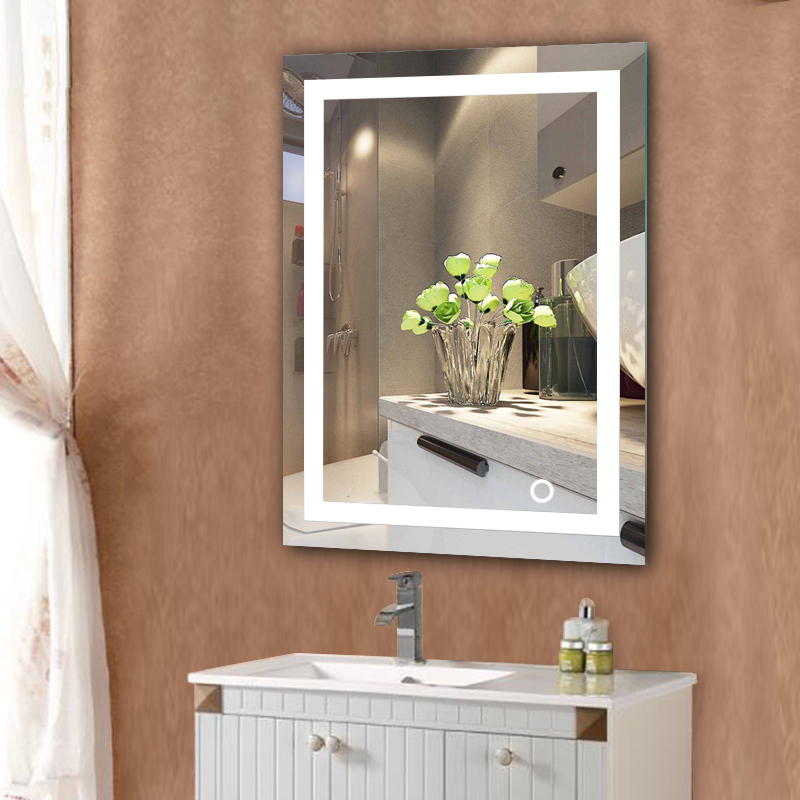 Led Home Bathroom Mirror Wall Mount Makeup Lighted Rectangular W Touch On Decor Hwc