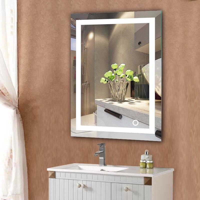 LED Home Bathroom Mirror Wall Mount Makeup Mirror Lighted Rectangular W/Touch Button Bathroom Decor Mirror HWC