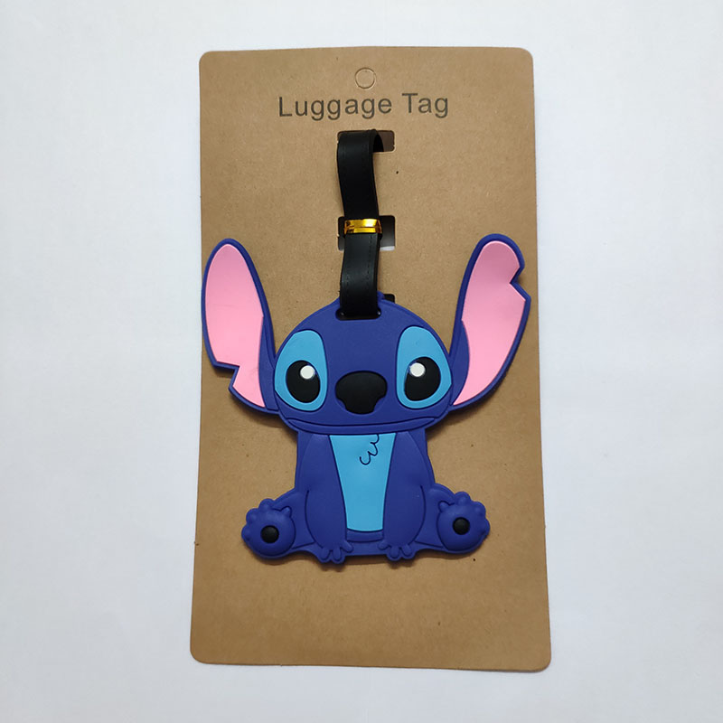 Cute Cartoon Lilo Stitch Luggage Tag Silica Gel PVC Travel Accessories Men Women Gift Portable Suitcase Tags Name Labels