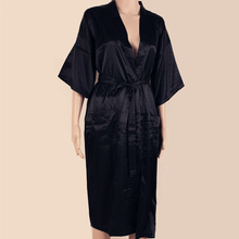 BLACK Mens Robe Hot Sale Faux Silk Kimono Bath Gown Bathrobe