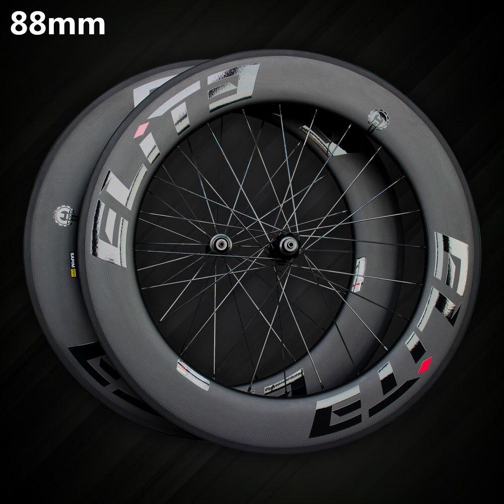 Elite SLR carbone route vélo roue 700c jante tubulaire pneu Tubeless avec Taiwan droit tirer faible résistance moyeu en céramique