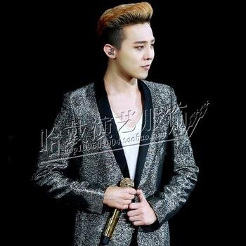 S-5XL ! Gd in same Bigbang silver sequins suit Men singers DJ Show jacket coat The host suit costumes ! free shipping