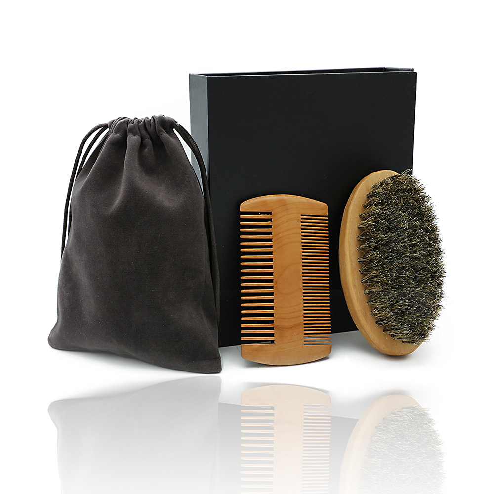 Popular Beard Brush And Mustache Comb Kit For Men's Facial Care Gift Grooming Comb With Boar Bristle Shaving Brush Set