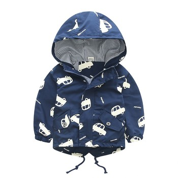 70-120cm 2019 Autumn Jacket Boys Girls Kids Outerwear Cute Car Windbreaker Coats Fashion Print Canvas Baby Children Clothing 1