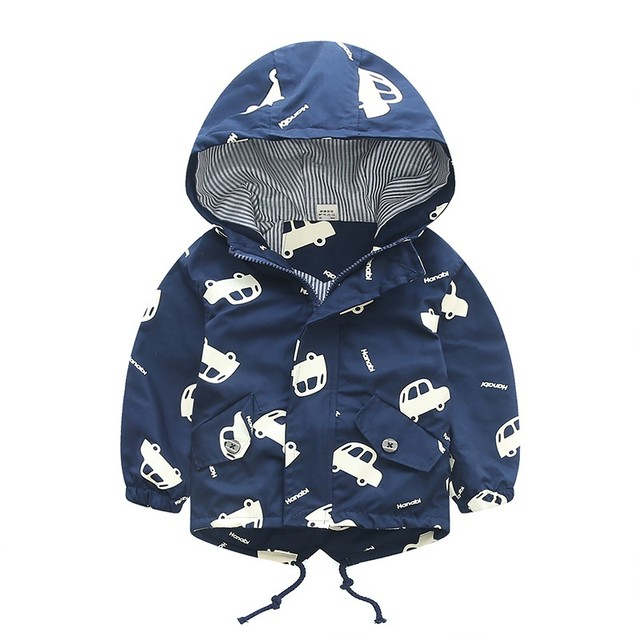 70-120cm 2019 Autumn Jacket Boys Girls Kids Outerwear Cute Car Windbreaker Coats Fashion Print Canvas Baby Children Clothing