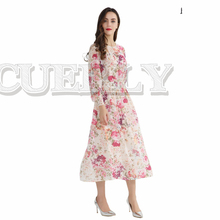 CUERLY women sweet floral chiffon dress two pieces set elastic waist long sleeve ladies casual mid calf dresses vestidos