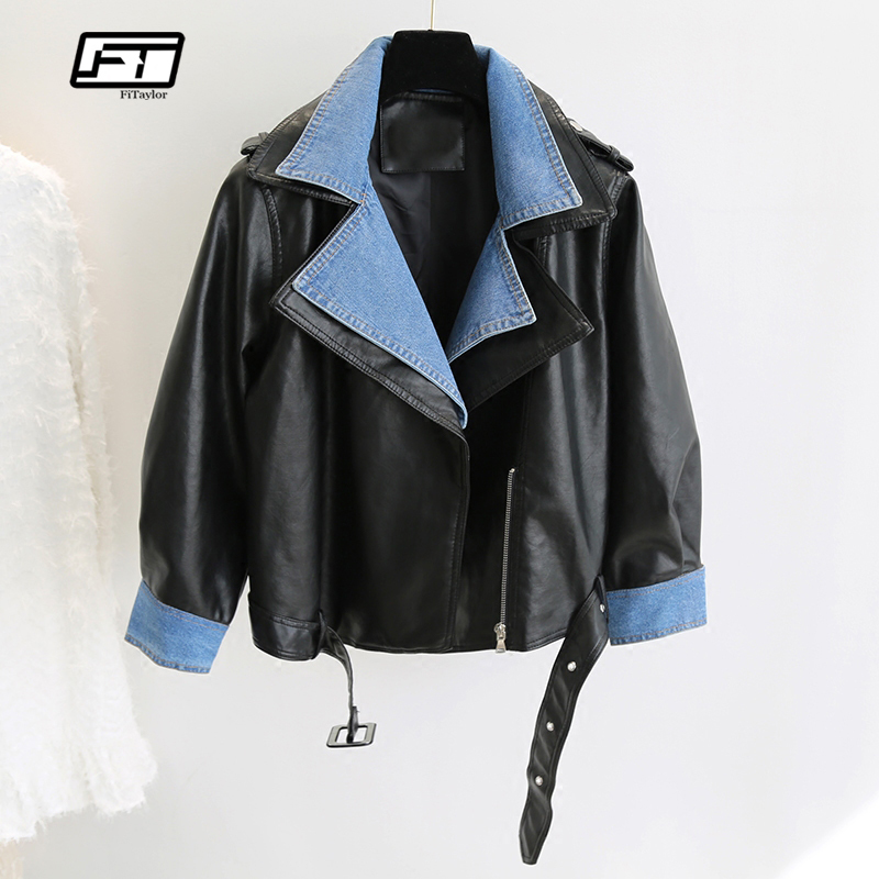 Fitaylor Women Faux   Leather   Jacket Vintage Patchwork   Leather   Coat Short Motorcycle PU Bomber Jackets Basic Outwear