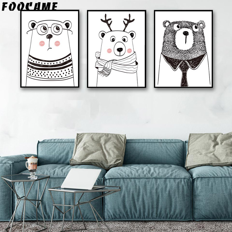 FOOCAME Cartoon Animal Bear Antlers Posters and Prints Art Canvas - Home Decor