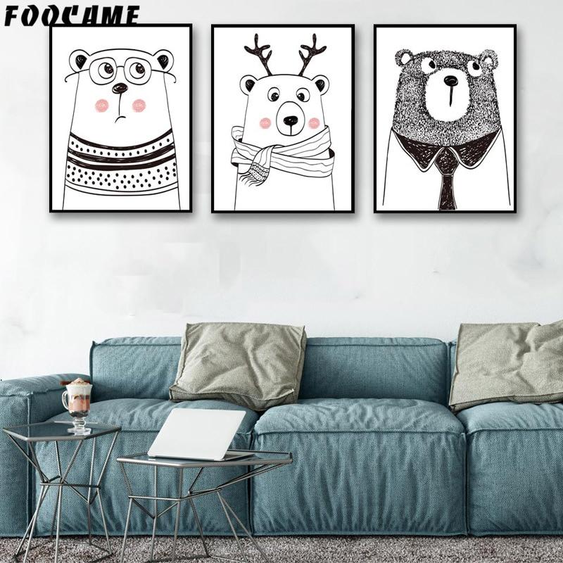 FOOCAME Cartoon Animal Bear Antlers Plakater og utskrifter Kunst - Hjemmedekorasjon