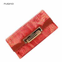 Women Wallet Snake Skin Pattern Real Leather Purse for Female Phone Holder Money Bags Long Clutch Red Notecase
