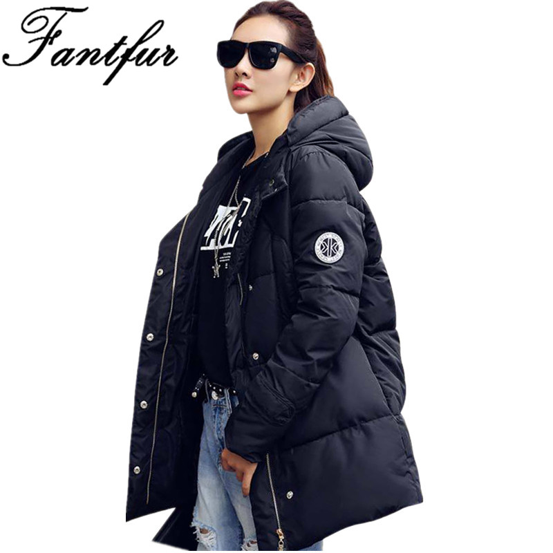 FANTFUR 2017 New Long Parkas Female Winter Coat Thickening Down Cotton Jacket Womens Loose Outwear High Quality Warm Overcoat abner 2017 new winter loose long coat fashion women down cotton female warm parkas overcoat good quality free shipping