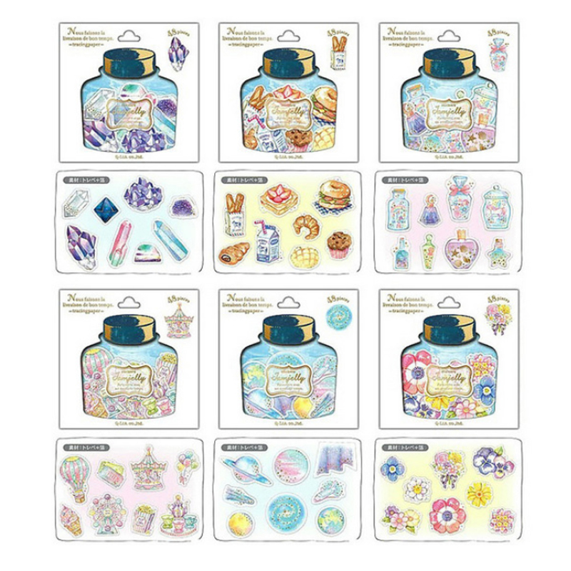 48pcs/pack Jamjelly Drift Bottle Animal Diary Stationery Stickers Decorative Mobile Stickers Scrapbooking DIY Craft Stickers