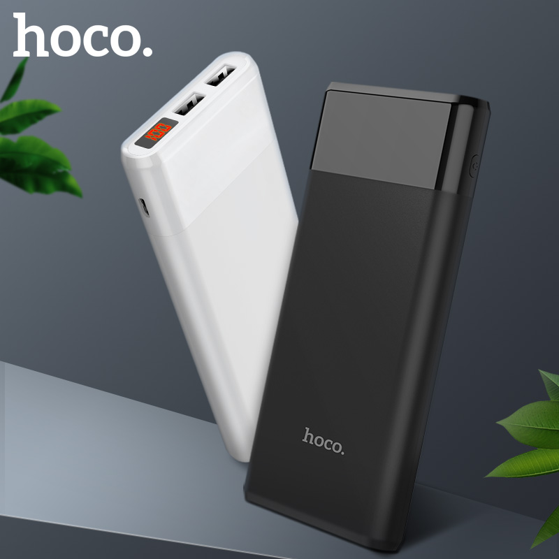 HOCO Power bank <font><b>12000mAh</b></font> Portable PowerBank <font><b>Phone</b></font> quick Charge USB Output External Batteries Pack LCD Display Mobile Charger image