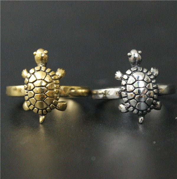 PROMISE RING 14KT GOLD EP TURTLE SIZE 1-5 BABY,TOE PINKIE