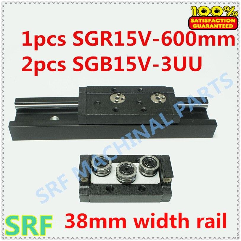 ФОТО 38mm width Aluminum Square Roller Linear Guide Rail 1pcs SGR15V Length=600mm +2pcs SGB15V-3UU three wheel slide block